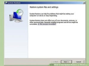 Restore the Windows System - Screenshot