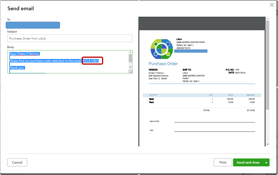Adding the customer's purchase order number to the subject line of the email - Screenshot
