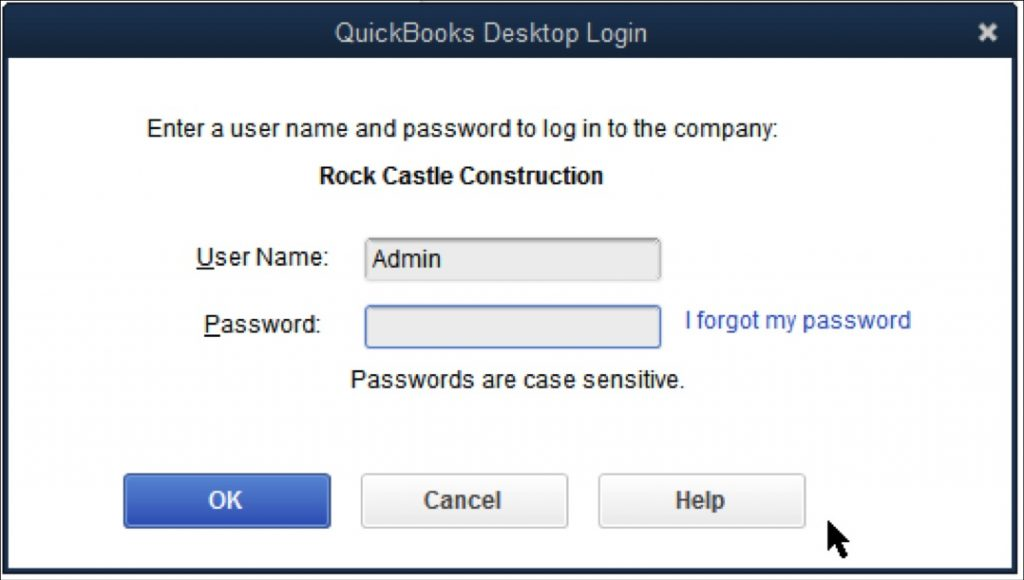 Resetting Admin password becomes easier with QuickBooks 2020 - Screenshot