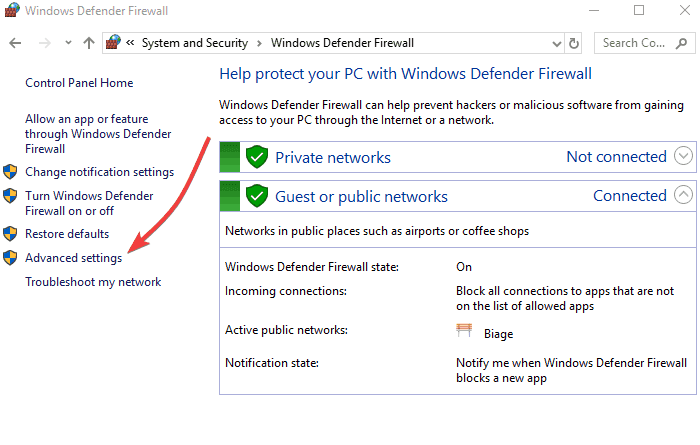 Configure your firewall and anti-virus defender - Screenshot