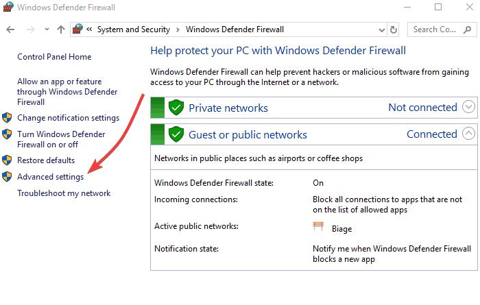 Configure your firewall and anti-virus defender - Screenshot