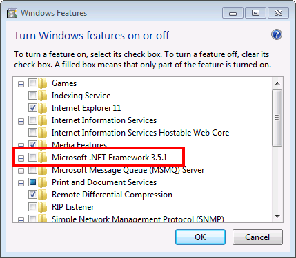 Enable the Microsoft .NET 3.5 - Screenshot