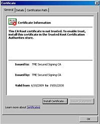 Install a digital signature certificate - Screenshot