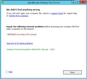 QBDBMGRN Not Running on Computer Server - Screenshot