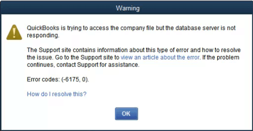 QuickBooks Error Code 6175-0 - Screenshot