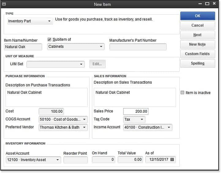 QuickBooks Inventory Items - Screenshot