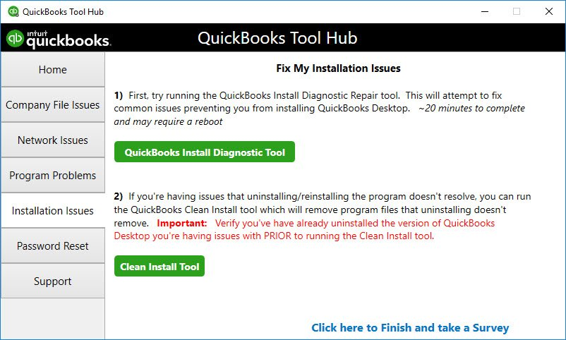 QuickBooks clean install tool - Screenshot