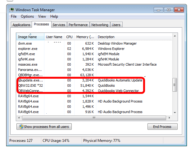 Close all QuickBooks Processes - Screenshot