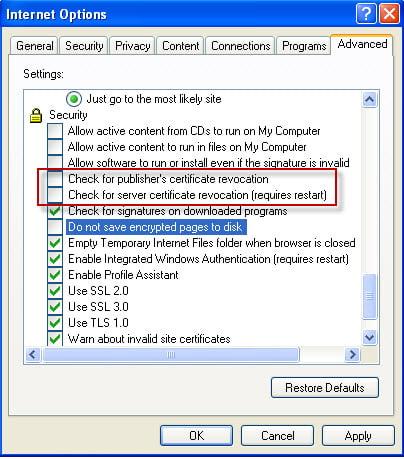 Configure the Internet Explorer Settings - Screenshot