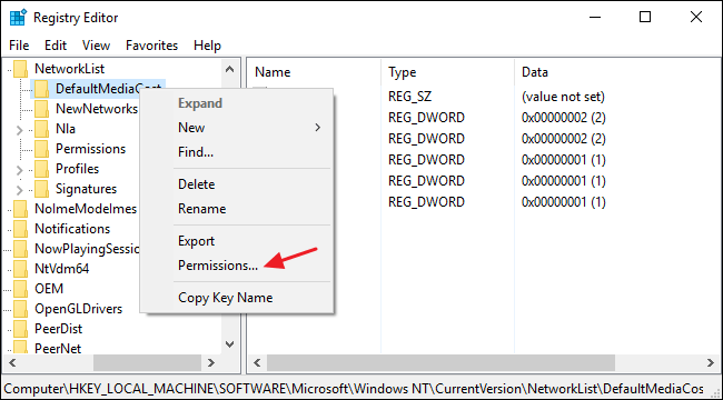 Grant permission by using Registry Editor - Screenshot