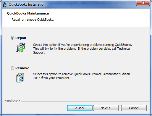 Repair QuickBooks Desktop - Screenshot