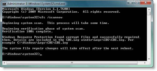 Running Windows file checker - Screenshot