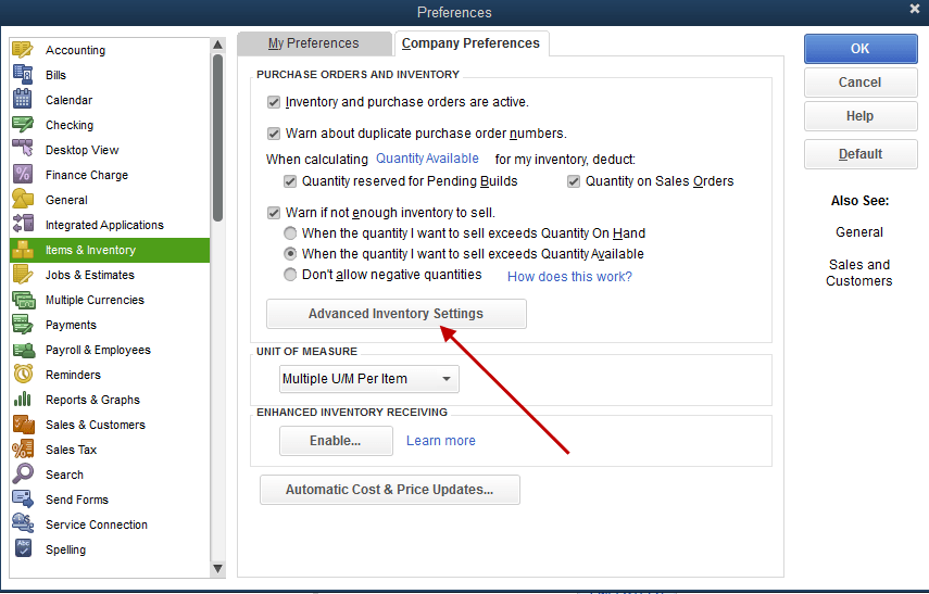 Turn on Advanced Inventory in QuickBooks Enterprise - Screenshot