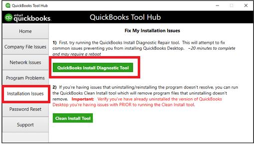 Choose QuickBooks Install Diagnostic tool - Screenshot