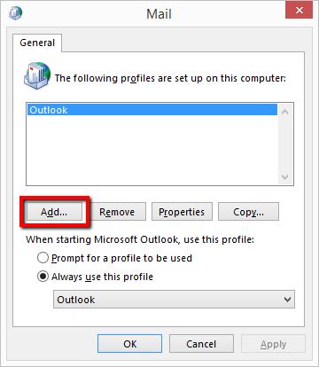 Create a New Outlook Mail Profile - Screenshot