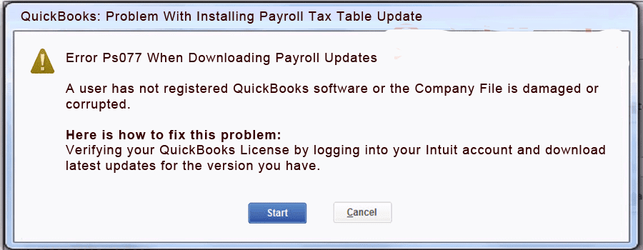 QuickBooks Error Code PS077 - Screenshot Image