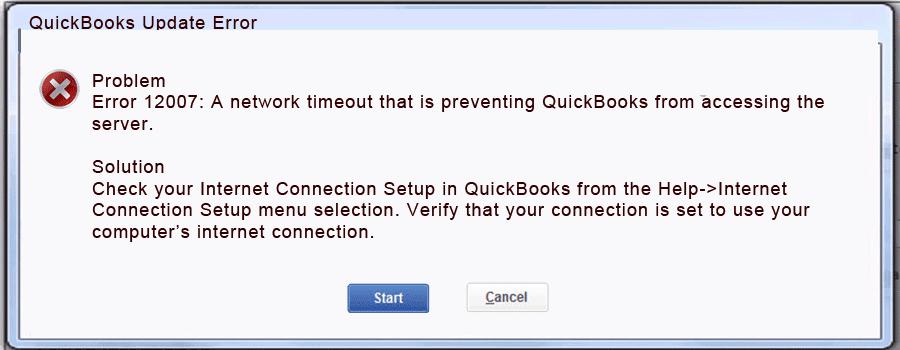 QuickBooks update error 12007 - Screenshot