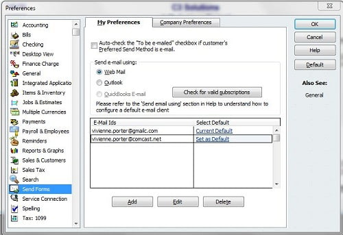 Setting up Web mail in QuickBooks desktop - Screenshot