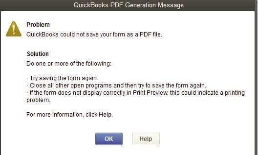QuickBooks PDF Generation error message - Screenshot