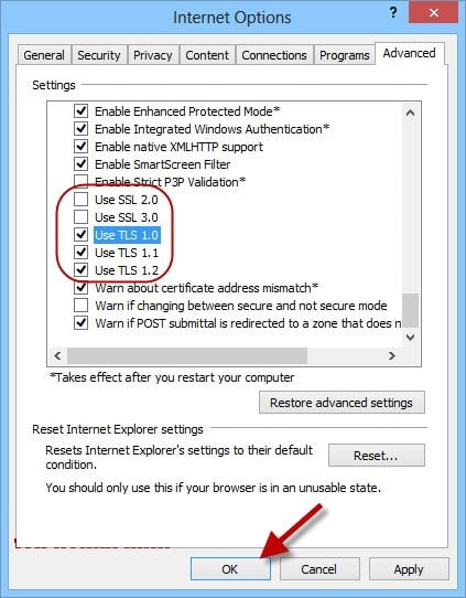 Configuring Internet Explorer SSL Settings in QuickBooks - Screenshot